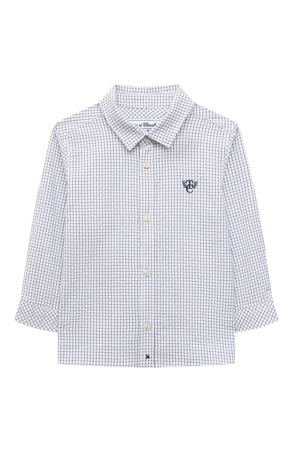 Детский хлопковая рубашка TARTINE ET CHOCOLAT темно-синего цвета, арт. TS12131/18M-3A   Фото 1 (Рукава: Длинные; Материал внешний: Хлопок; Ростовка одежда: 18 мес   86 см, 24 мес   92 см, 36 мес   98 см)