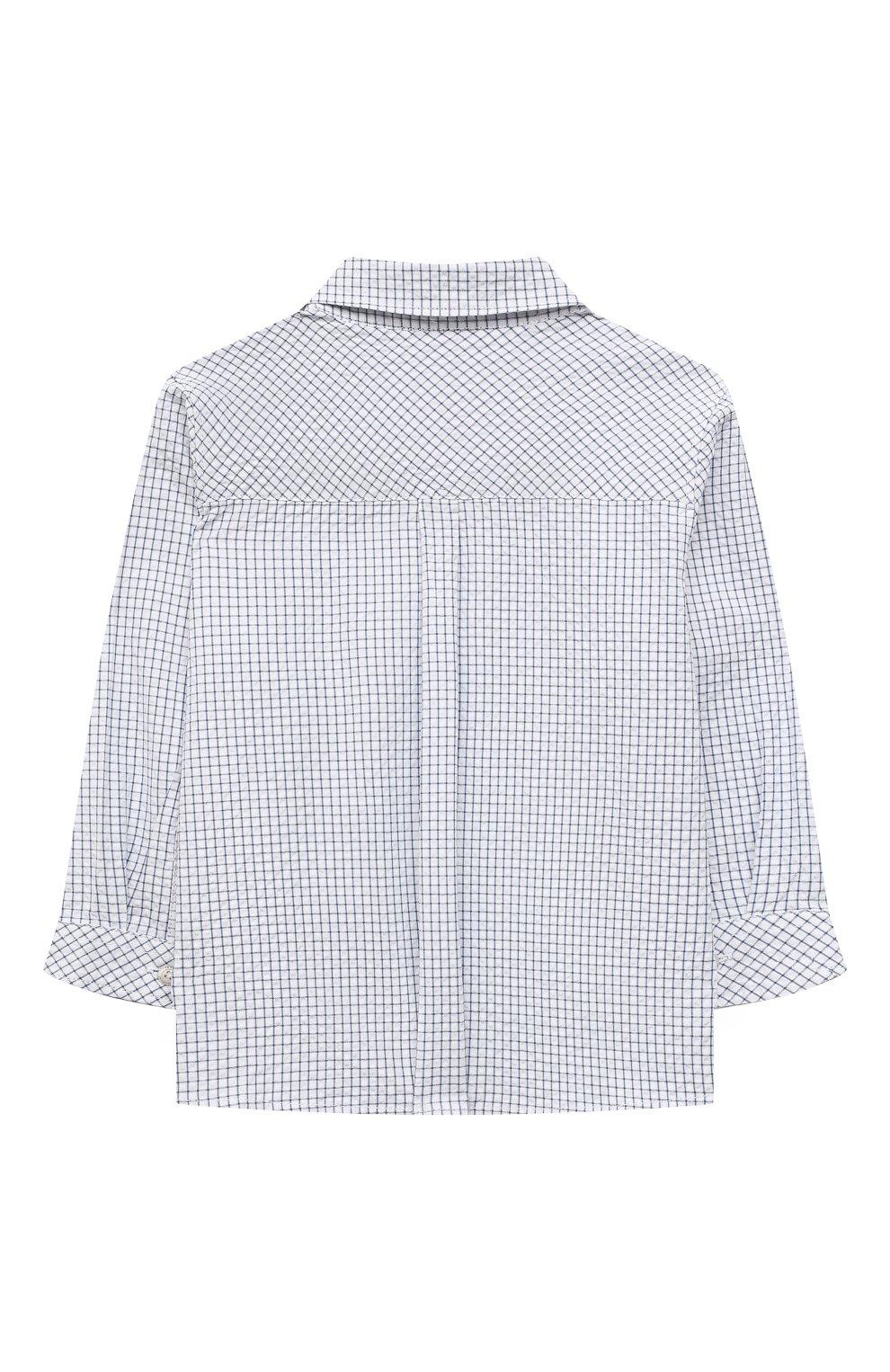 Детский хлопковая рубашка TARTINE ET CHOCOLAT темно-синего цвета, арт. TS12131/18M-3A   Фото 2 (Рукава: Длинные; Материал внешний: Хлопок; Ростовка одежда: 18 мес   86 см, 24 мес   92 см, 36 мес   98 см)