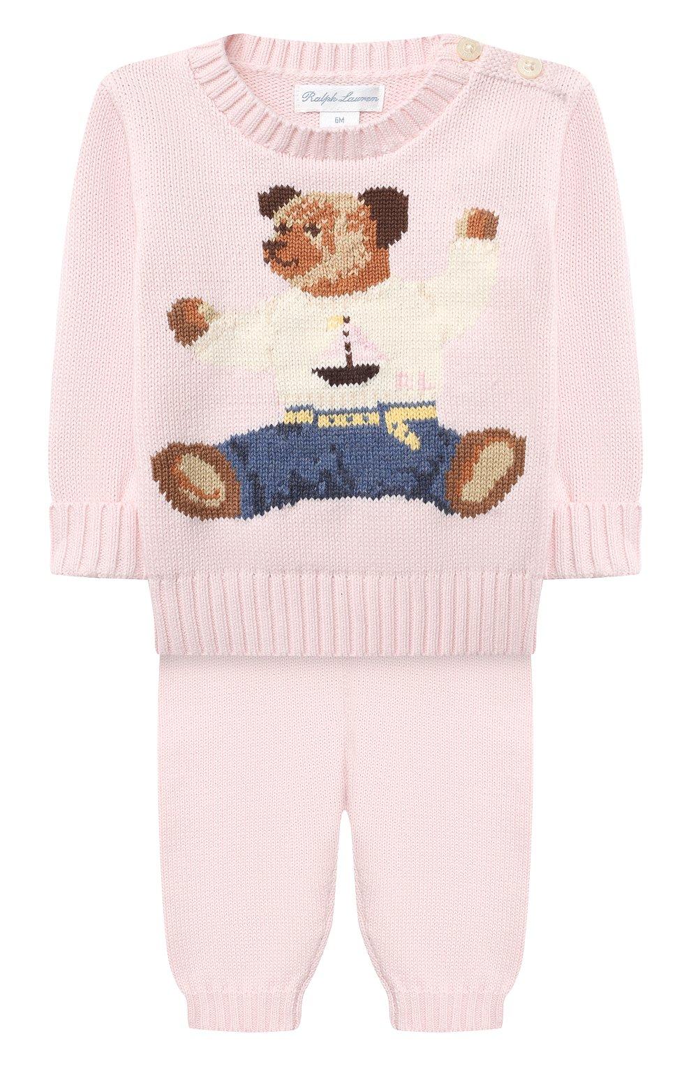 Детский комплект из пуловера и брюк RALPH LAUREN розового цвета, арт. 320835124 | Фото 1