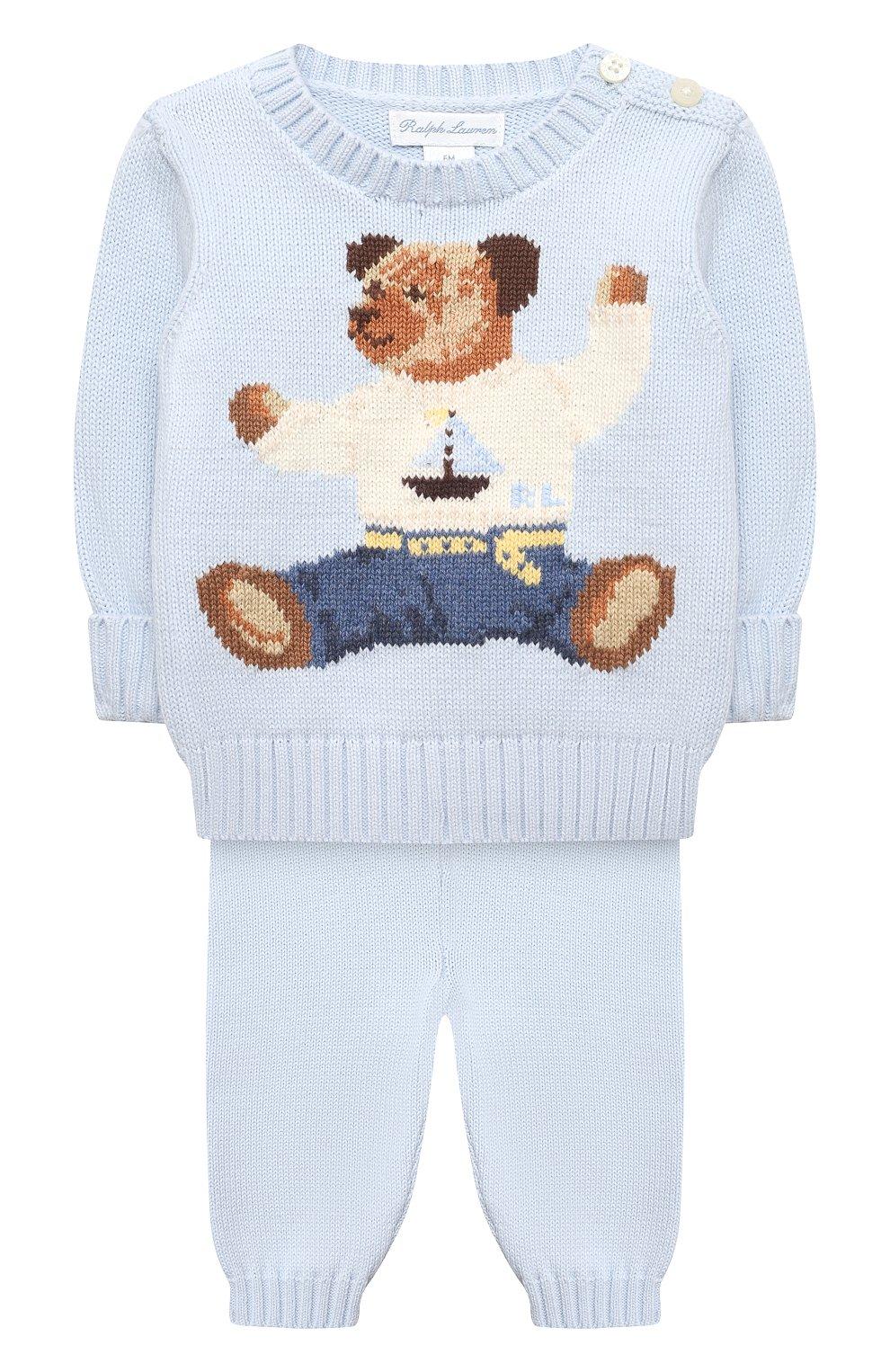 Детский комплект из пуловера и брюк RALPH LAUREN голубого цвета, арт. 320835124   Фото 1