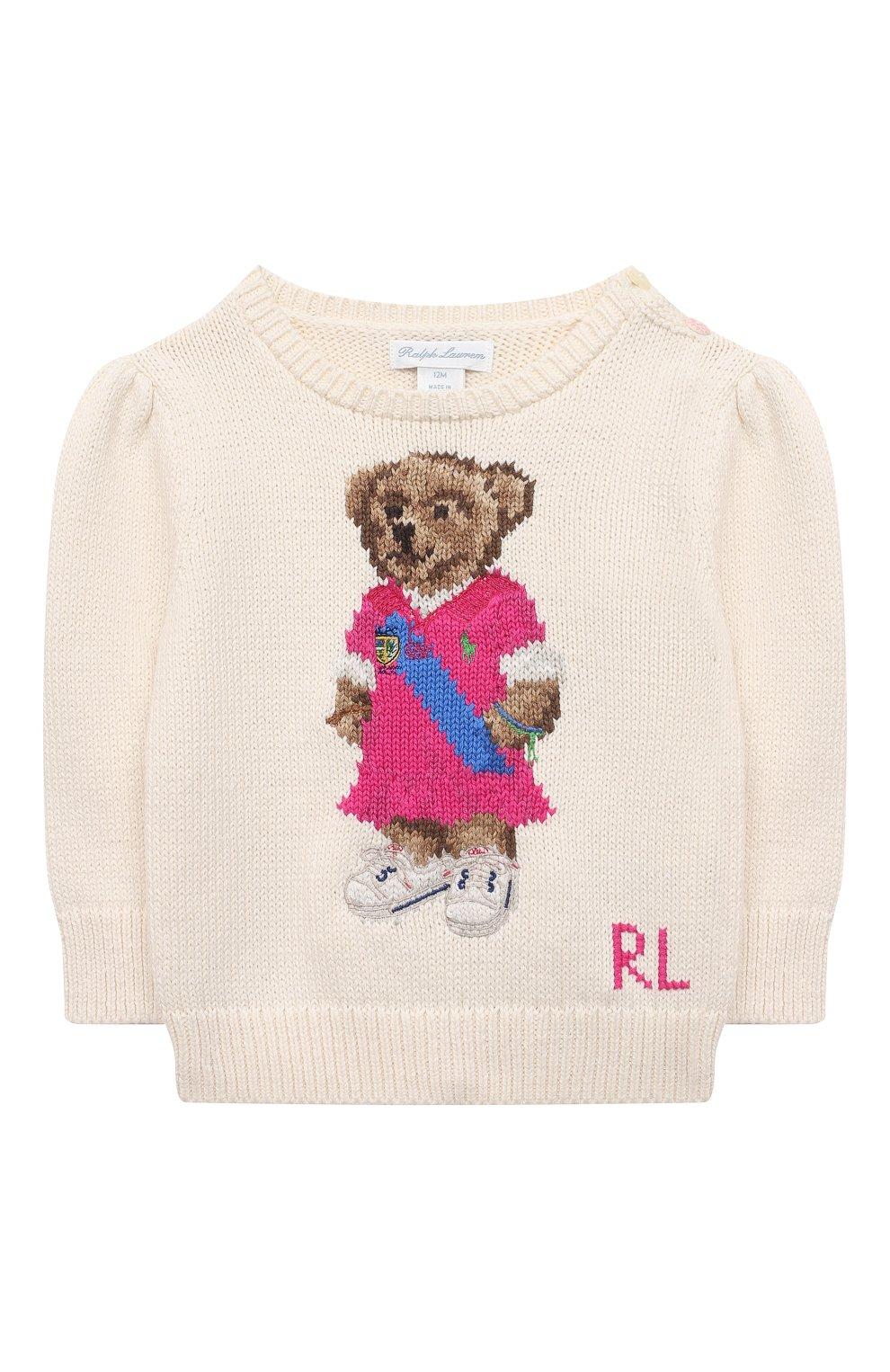 Детский хлопковый пуловер RALPH LAUREN бежевого цвета, арт. 310834981 | Фото 1