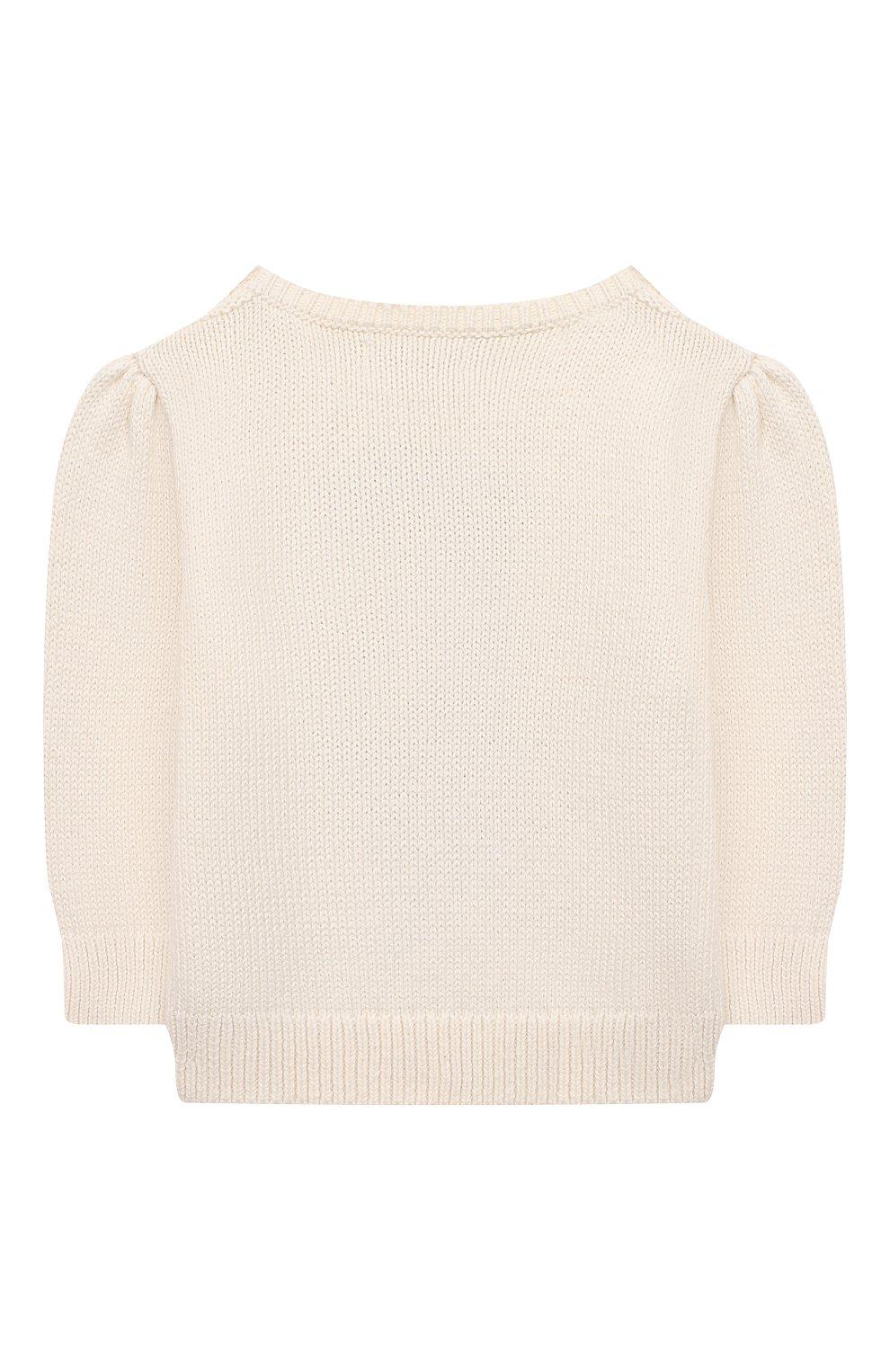 Детский хлопковый пуловер RALPH LAUREN бежевого цвета, арт. 310834981 | Фото 2