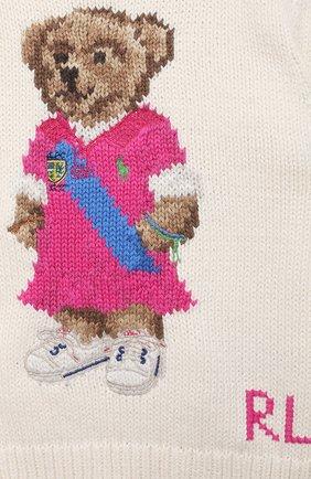 Детский хлопковый пуловер RALPH LAUREN бежевого цвета, арт. 310834981 | Фото 3
