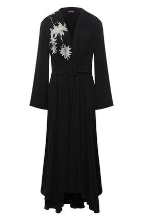 Женское шелковое платье GIORGIO ARMANI черного цвета, арт. 1SHVA07S/T01WH | Фото 1