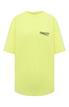 Женская хлопковая футболка BALENCIAGA желтого цвета, арт. 641655/TJVF7 | Фото 1