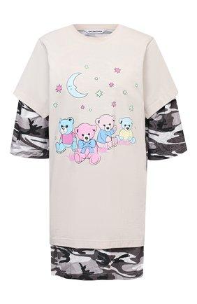Женская хлопковая футболка BALENCIAGA кремвого цвета, арт. 641584/TJVI1 | Фото 1