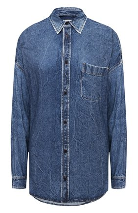 Женская рубашка из вискозы BALENCIAGA синего цвета, арт. 641469/TJW47 | Фото 1