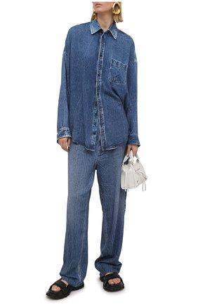 Женская рубашка из вискозы BALENCIAGA синего цвета, арт. 641469/TJW47 | Фото 2