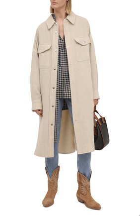 Женское шерстяное пальто ISABEL MARANT ETOILE кремвого цвета, арт. MA0902-21P064E/F0NTIA | Фото 2