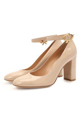 Женские кожаные туфли ribbon GIANVITO ROSSI светло-бежевого цвета, арт. G22056.85RIC.VERM0US | Фото 1