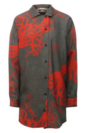 Женская шелковая рубашка UMA WANG разноцветного цвета, арт. S1 W UP1006 | Фото 1 (Длина (для топов): Удлиненные; Рукава: Длинные; Материал внешний: Шелк; Принт: С принтом; Женское Кросс-КТ: Рубашка-одежда; Стили: Романтичный)