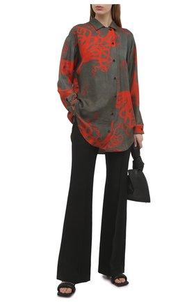 Женская шелковая рубашка UMA WANG разноцветного цвета, арт. S1 W UP1006 | Фото 2 (Длина (для топов): Удлиненные; Рукава: Длинные; Материал внешний: Шелк; Принт: С принтом; Женское Кросс-КТ: Рубашка-одежда; Стили: Романтичный)
