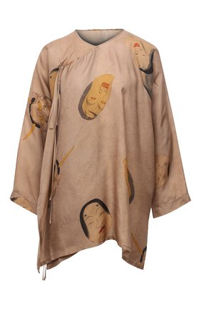 Женская блузка UMA WANG бежевого цвета, арт. S1 W UP1013 | Фото 1 (Материал внешний: Купро, Вискоза; Длина (для топов): Удлиненные; Женское Кросс-КТ: Блуза-одежда; Принт: С принтом; Стили: Романтичный; Рукава: 3/4)