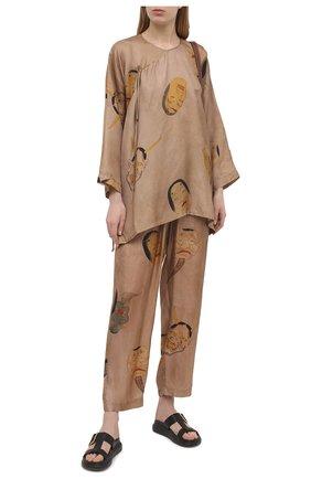 Женская блузка UMA WANG бежевого цвета, арт. S1 W UP1013 | Фото 2 (Материал внешний: Купро, Вискоза; Длина (для топов): Удлиненные; Женское Кросс-КТ: Блуза-одежда; Принт: С принтом; Стили: Романтичный; Рукава: 3/4)