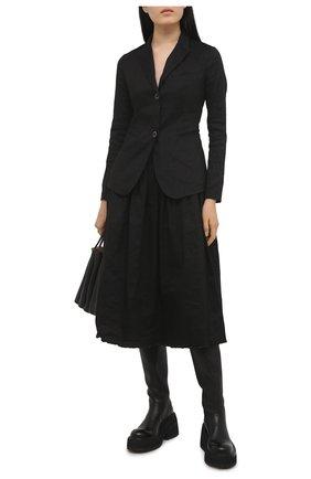 Женская льняная юбка UMA WANG черного цвета, арт. S1 W UP2002 | Фото 2 (Материал внешний: Лен; Длина Ж (юбки, платья, шорты): Миди; Женское Кросс-КТ: Юбка-одежда; Стили: Гламурный)