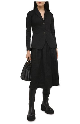 Женский льняной жакет UMA WANG черного цвета, арт. S1 W UP6001 | Фото 2 (Длина (для топов): Стандартные; Материал внешний: Лен; Случай: Повседневный; Стили: Кэжуэл; Женское Кросс-КТ: Жакет-одежда; 1-2-бортные: Однобортные; Рукава: Длинные)