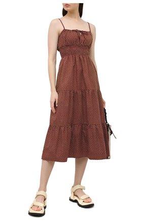 Женское хлопковое платье FAITHFULL THE BRAND коричневого цвета, арт. FF1724-BDP | Фото 2
