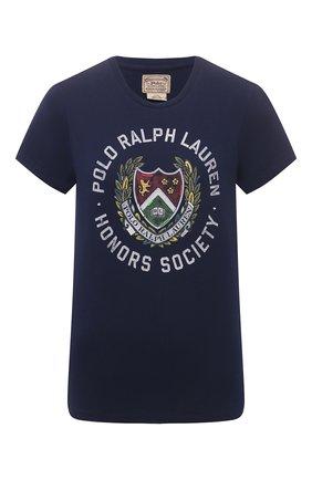 Женская хлопковая футболка POLO RALPH LAUREN синего цвета, арт. 211814462 | Фото 1