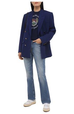 Женская хлопковая футболка POLO RALPH LAUREN синего цвета, арт. 211814462 | Фото 2