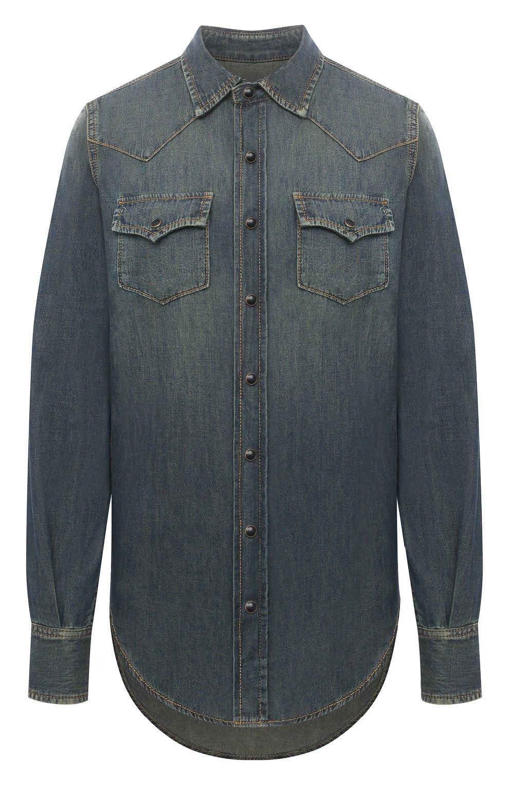 Женская джинсовая рубашка SAINT LAURENT синего цвета, арт. 497526/Y880U   Фото 1