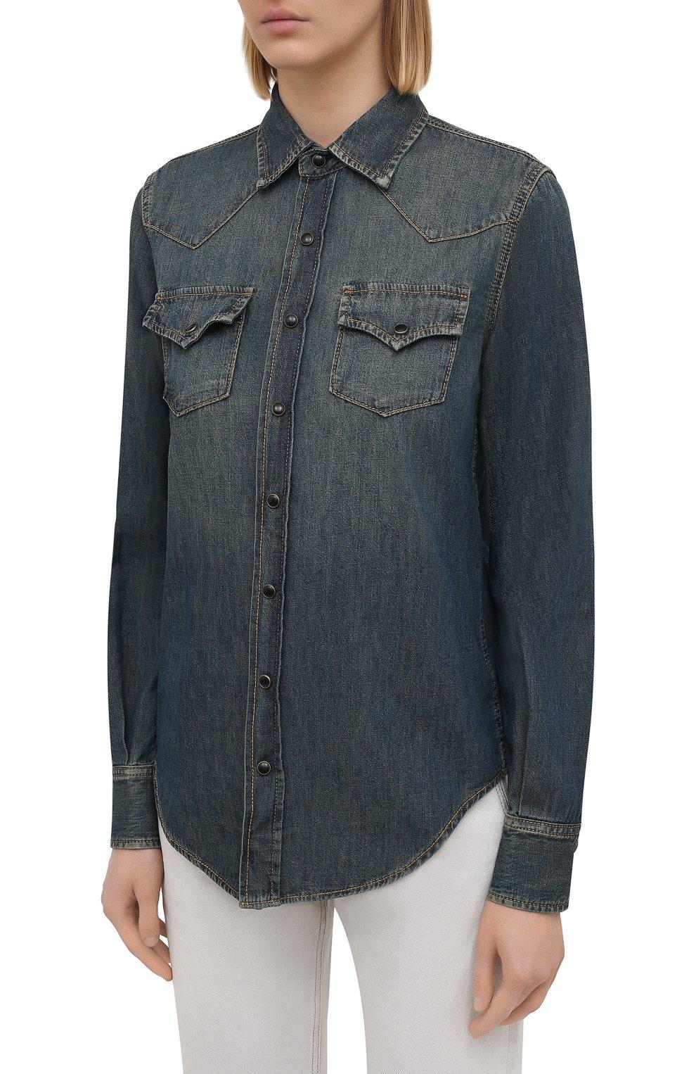 Женская джинсовая рубашка SAINT LAURENT синего цвета, арт. 497526/Y880U   Фото 3