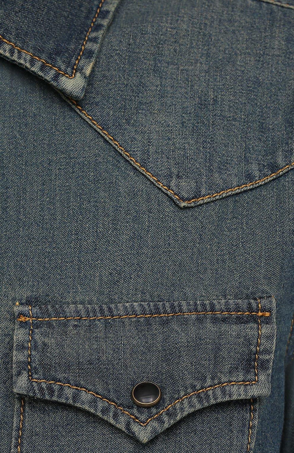 Женская джинсовая рубашка SAINT LAURENT синего цвета, арт. 497526/Y880U   Фото 5