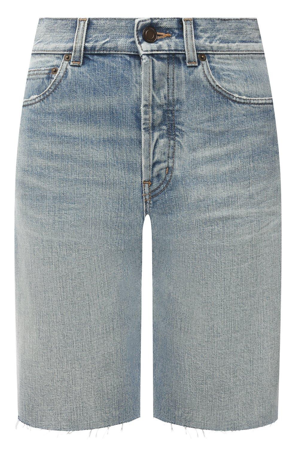 Женские джинсовые шорты SAINT LAURENT голубого цвета, арт. 644079/YS862 | Фото 1