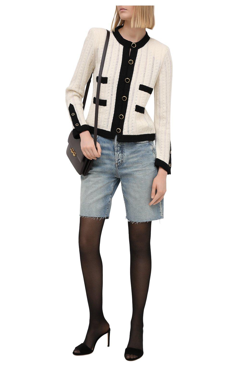 Женские джинсовые шорты SAINT LAURENT голубого цвета, арт. 644079/YS862 | Фото 2