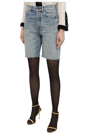 Женские джинсовые шорты SAINT LAURENT голубого цвета, арт. 644079/YS862 | Фото 3