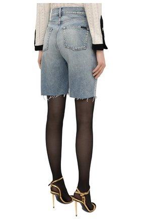 Женские джинсовые шорты SAINT LAURENT голубого цвета, арт. 644079/YS862 | Фото 4