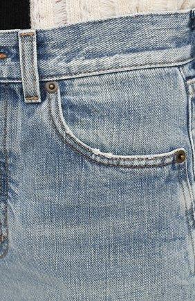 Женские джинсовые шорты SAINT LAURENT голубого цвета, арт. 644079/YS862 | Фото 5