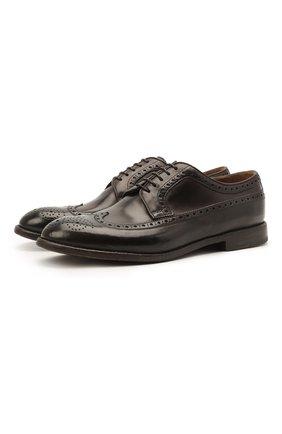 Мужские кожаные дерби W.GIBBS темно-коричневого цвета, арт. 0337005/1362 | Фото 1 (Материал внутренний: Натуральная кожа; Стили: Классический; Мужское Кросс-КТ: Броги-обувь)