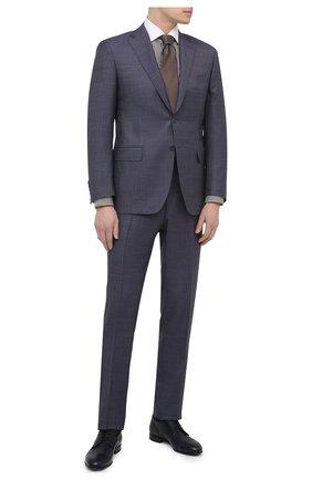 Мужские кожаные дерби W.GIBBS темно-синего цвета, арт. 7094016/2415 | Фото 2 (Материал внутренний: Натуральная кожа; Стили: Классический)