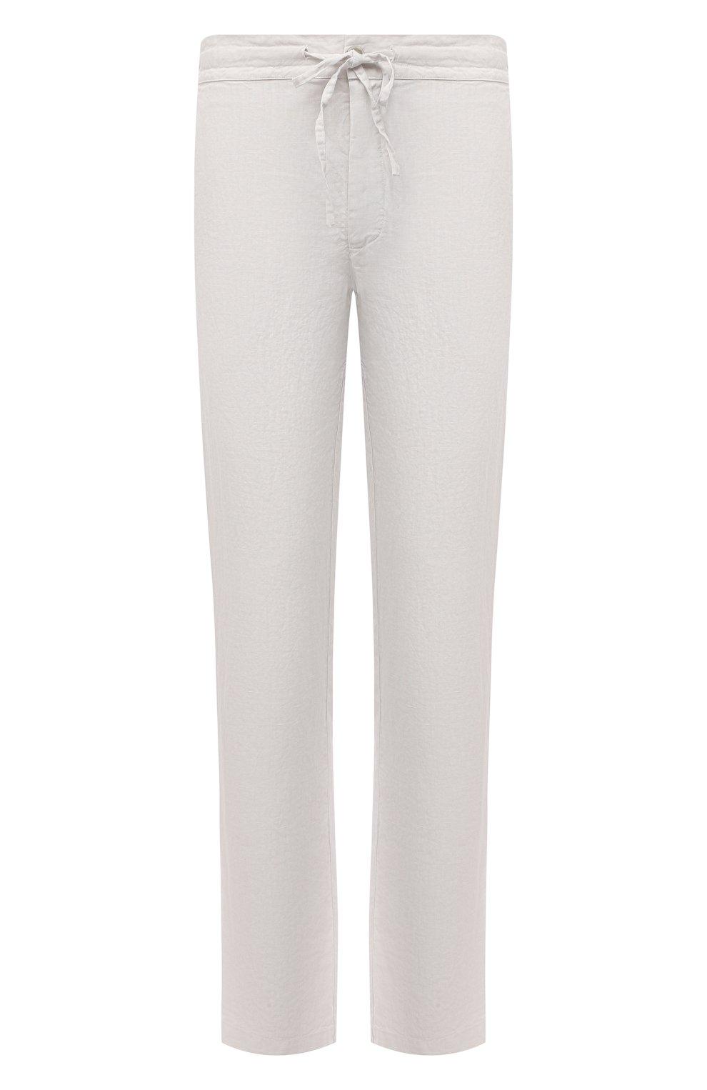 Мужские льняные брюки 120% LINO белого цвета, арт. T0M299M/0253/000   Фото 1 (Длина (брюки, джинсы): Стандартные; Случай: Повседневный; Материал внешний: Лен; Стили: Кэжуэл)