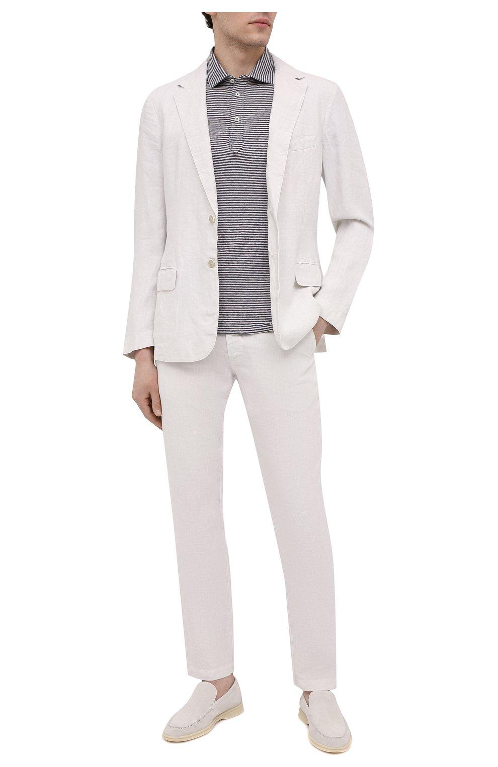 Мужские льняные брюки 120% LINO белого цвета, арт. T0M299M/0253/000   Фото 2 (Длина (брюки, джинсы): Стандартные; Случай: Повседневный; Материал внешний: Лен; Стили: Кэжуэл)