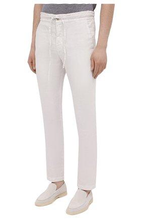 Мужские льняные брюки 120% LINO белого цвета, арт. T0M299M/0253/000   Фото 3 (Длина (брюки, джинсы): Стандартные; Случай: Повседневный; Материал внешний: Лен; Стили: Кэжуэл)