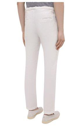 Мужские льняные брюки 120% LINO белого цвета, арт. T0M299M/0253/000   Фото 4 (Длина (брюки, джинсы): Стандартные; Случай: Повседневный; Материал внешний: Лен; Стили: Кэжуэл)