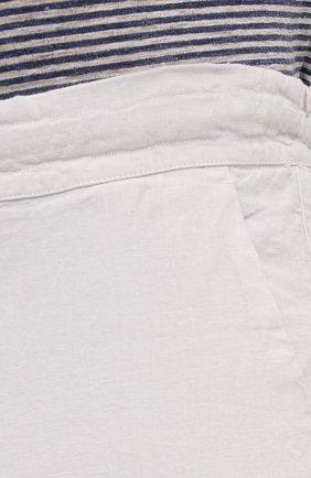 Мужские льняные брюки 120% LINO белого цвета, арт. T0M299M/0253/000   Фото 5 (Длина (брюки, джинсы): Стандартные; Случай: Повседневный; Материал внешний: Лен; Стили: Кэжуэл)