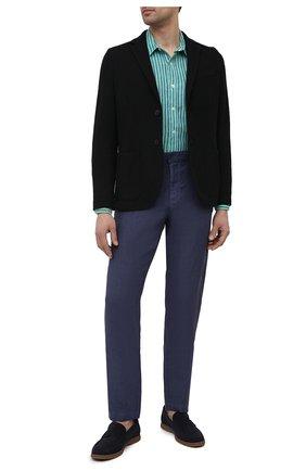 Мужская льняная рубашка 120% LINO зеленого цвета, арт. T0M1425/F945/000 | Фото 2