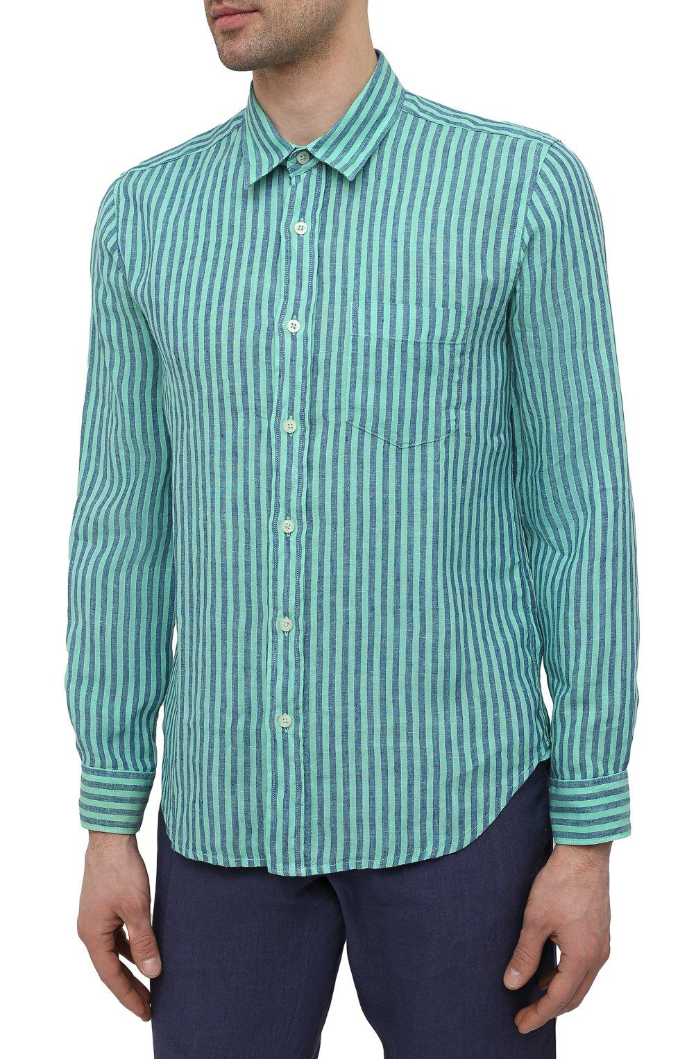 Мужская льняная рубашка 120% LINO бирюзового цвета, арт. T0M1425/F945/000   Фото 3 (Манжеты: На пуговицах; Воротник: Кент; Рукава: Длинные; Случай: Повседневный; Принт: Полоска; Длина (для топов): Стандартные; Материал внешний: Лен; Стили: Кэжуэл)