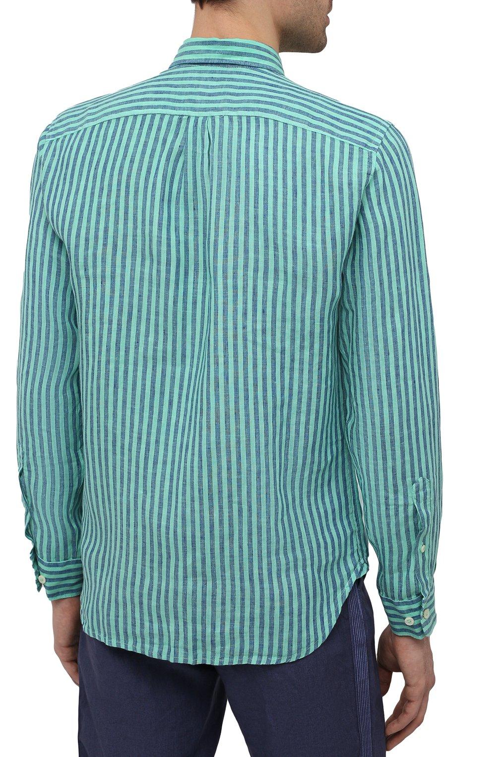 Мужская льняная рубашка 120% LINO бирюзового цвета, арт. T0M1425/F945/000   Фото 4 (Манжеты: На пуговицах; Воротник: Кент; Рукава: Длинные; Случай: Повседневный; Принт: Полоска; Длина (для топов): Стандартные; Материал внешний: Лен; Стили: Кэжуэл)