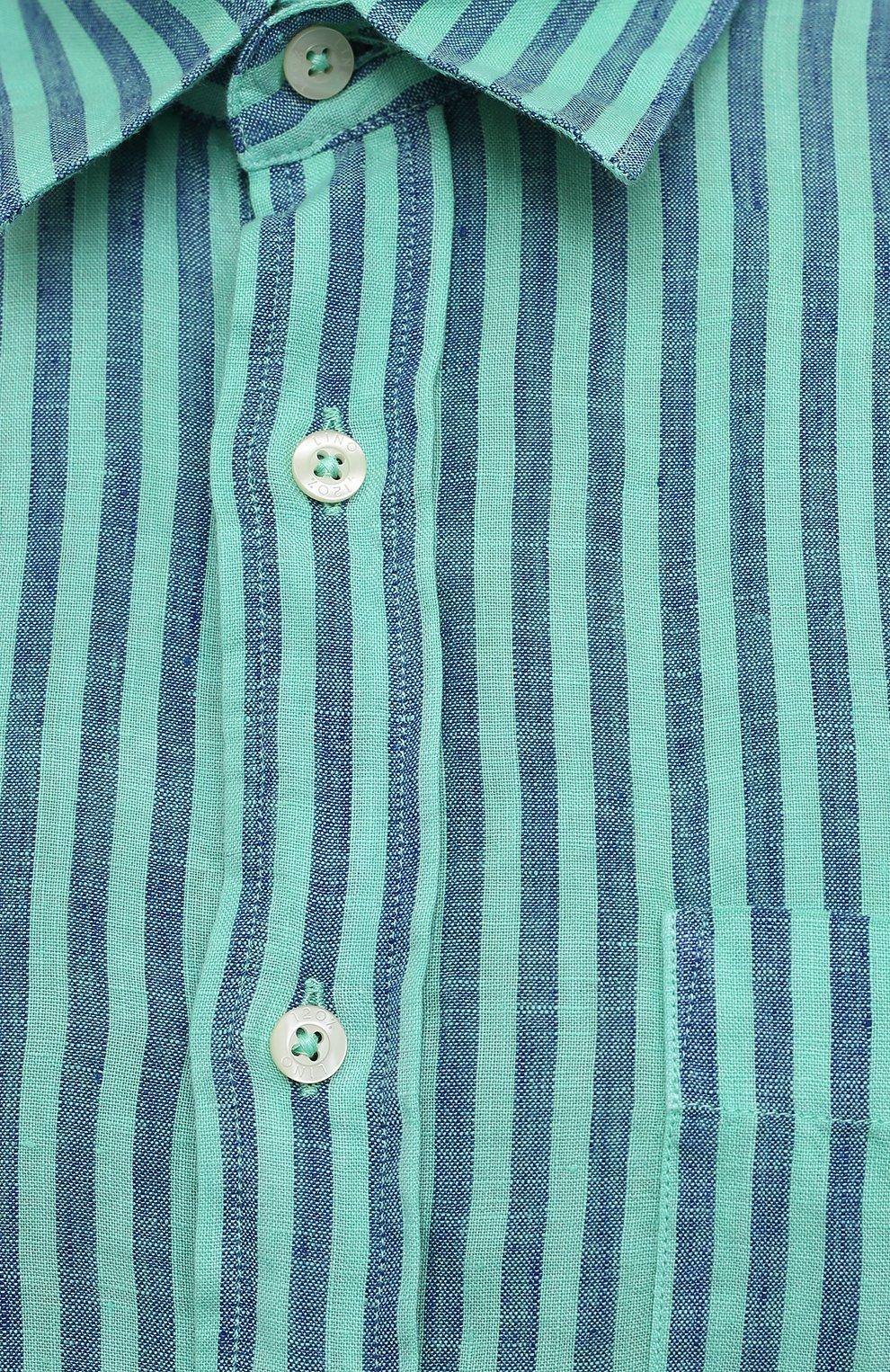 Мужская льняная рубашка 120% LINO бирюзового цвета, арт. T0M1425/F945/000   Фото 5 (Манжеты: На пуговицах; Воротник: Кент; Рукава: Длинные; Случай: Повседневный; Принт: Полоска; Длина (для топов): Стандартные; Материал внешний: Лен; Стили: Кэжуэл)