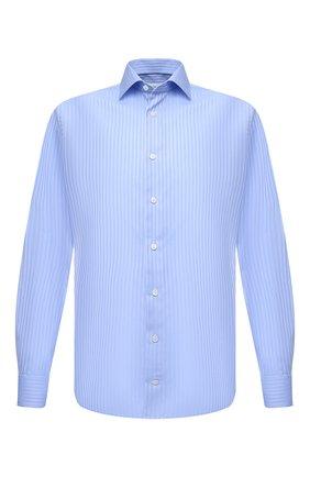 Мужская хлопковая сорочка ETON голубого цвета, арт. 1000 01285 | Фото 1 (Рукава: Длинные; Материал внешний: Хлопок; Длина (для топов): Стандартные; Случай: Формальный; Стили: Классический; Рубашки М: Slim Fit; Манжеты: На пуговицах; Воротник: Акула; Принт: Полоска)
