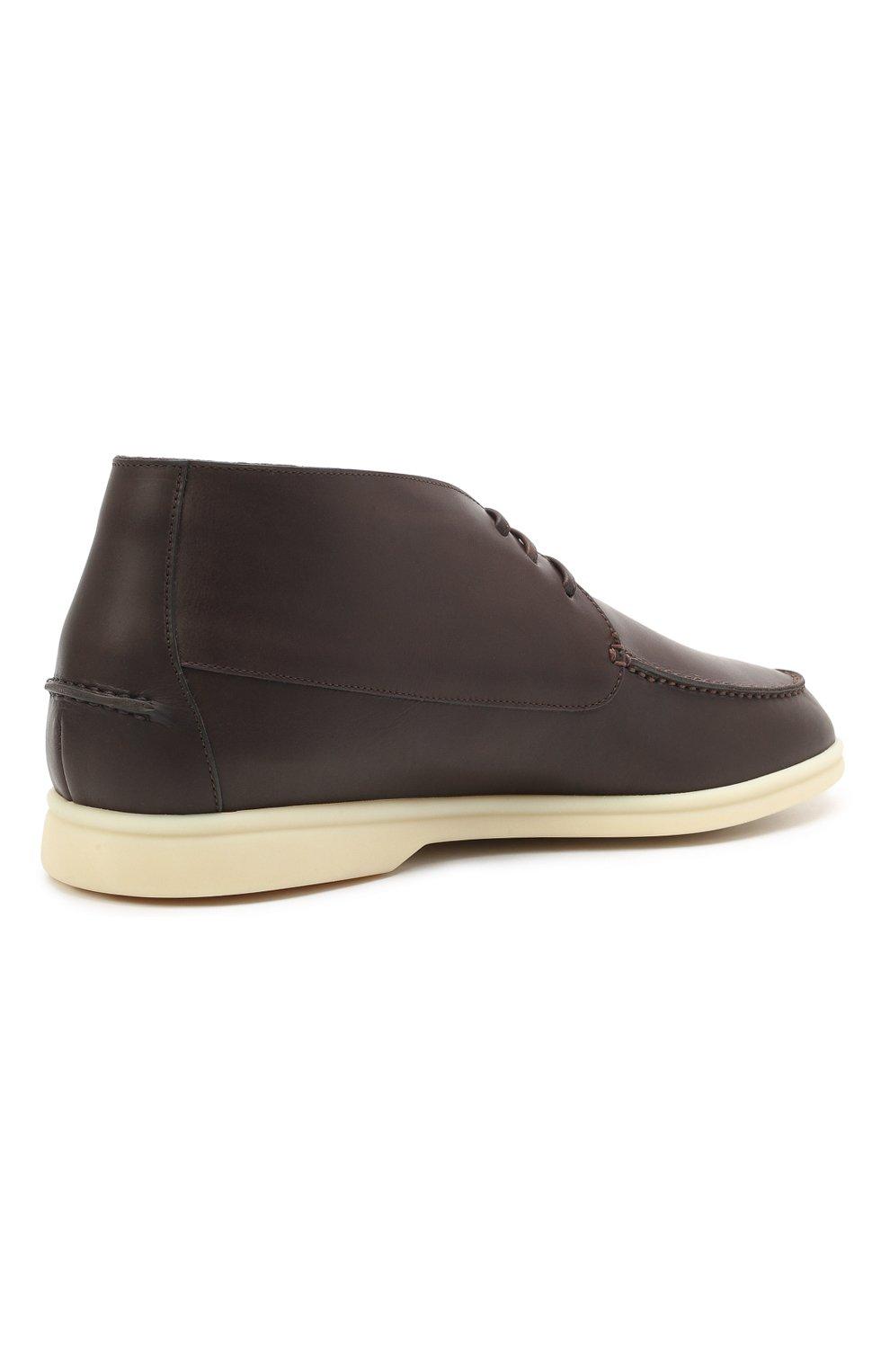 Мужские кожаные ботинки sailing walk LORO PIANA темно-коричневого цвета, арт. FAL6183 | Фото 4