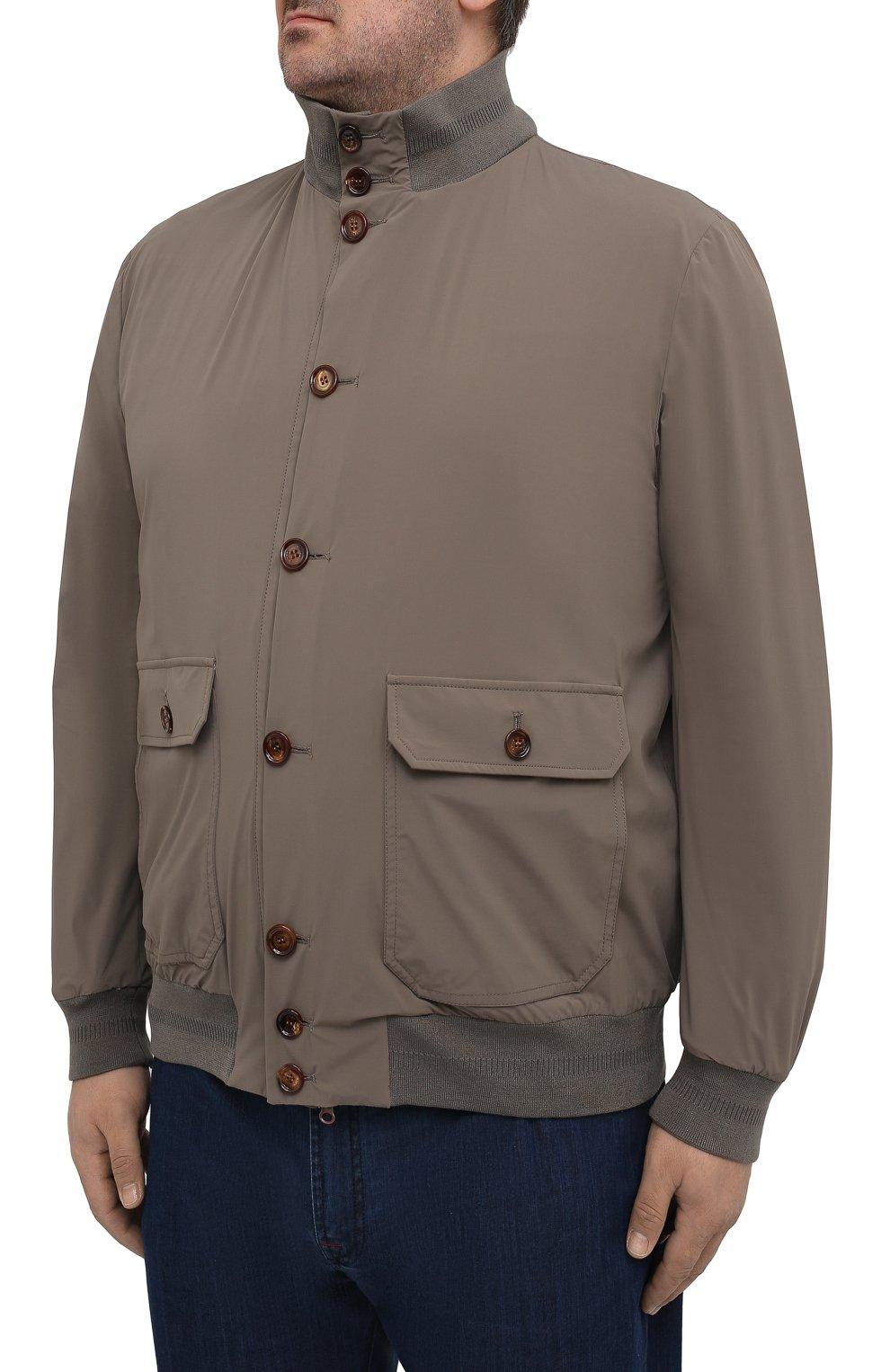 Мужской бомбер KIRED хаки цвета, арт. WSERGI0W6905011001/64-74 | Фото 3 (Кросс-КТ: Куртка; Big sizes: Big Sizes; Рукава: Длинные; Принт: Без принта; Материал внешний: Синтетический материал; Длина (верхняя одежда): Короткие; Стили: Кэжуэл)