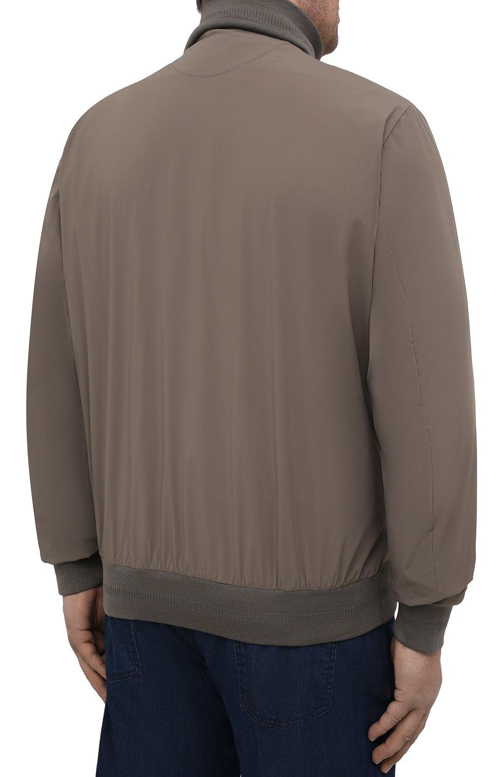Мужской бомбер KIRED хаки цвета, арт. WSERGI0W6905011001/64-74 | Фото 4 (Кросс-КТ: Куртка; Big sizes: Big Sizes; Рукава: Длинные; Принт: Без принта; Материал внешний: Синтетический материал; Длина (верхняя одежда): Короткие; Стили: Кэжуэл)