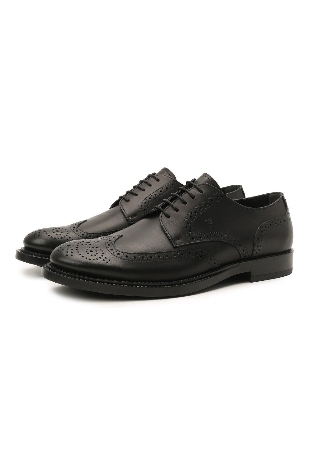 Мужские кожаные дерби TOD'S черного цвета, арт. XXM62C00C100LW   Фото 1 (Мужское Кросс-КТ: Броги-обувь; Материал внутренний: Натуральная кожа; Стили: Классический)