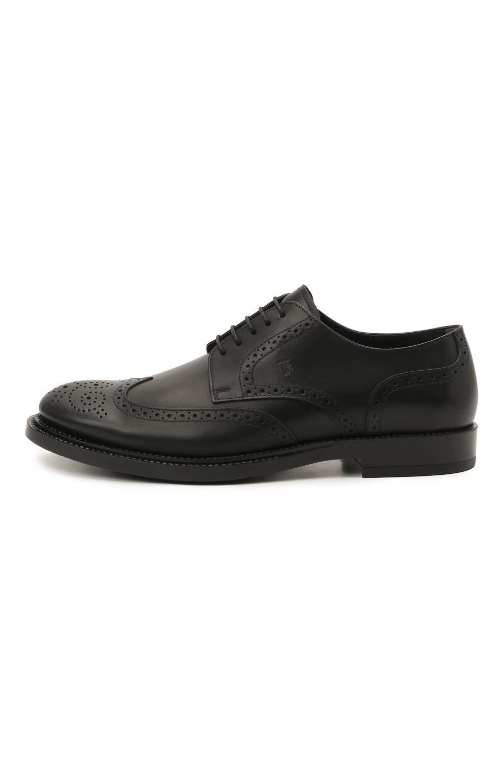 Мужские кожаные дерби TOD'S черного цвета, арт. XXM62C00C100LW   Фото 3 (Мужское Кросс-КТ: Броги-обувь; Материал внутренний: Натуральная кожа; Стили: Классический)