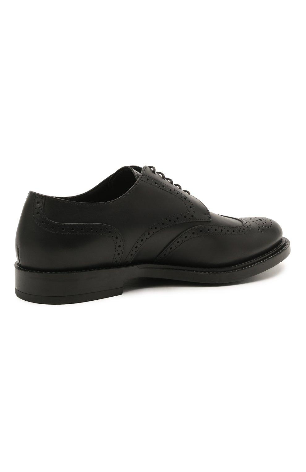 Мужские кожаные дерби TOD'S черного цвета, арт. XXM62C00C100LW   Фото 4 (Мужское Кросс-КТ: Броги-обувь; Материал внутренний: Натуральная кожа; Стили: Классический)