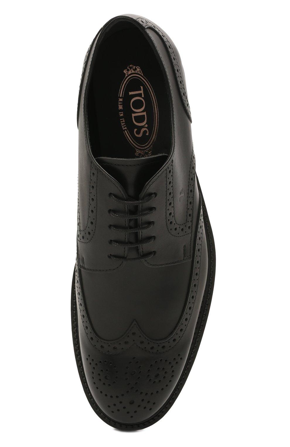 Мужские кожаные дерби TOD'S черного цвета, арт. XXM62C00C100LW   Фото 5 (Мужское Кросс-КТ: Броги-обувь; Материал внутренний: Натуральная кожа; Стили: Классический)